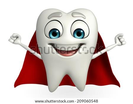 Cartoon character of teeth with superman cloth  - stock photo