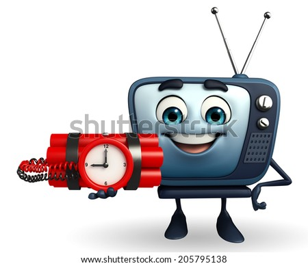 Cartoon Character of TV with Bomb - stock photo