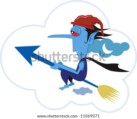 cartoon character riding in his jet spear