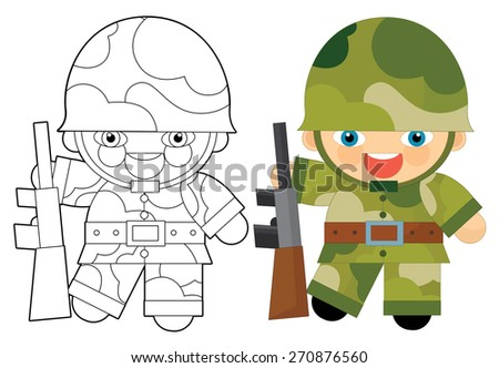 Cartoon character - soldier - coloring page - illustration for the children - stock photo
