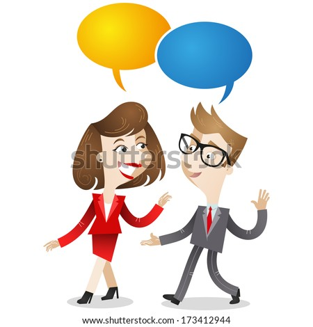 Cartoon characters: Businessman and business woman walking and having a conversation (Vector version also available in my gallery). - stock photo