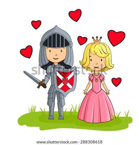 Cartoon characters knight and princess in love - stock photo