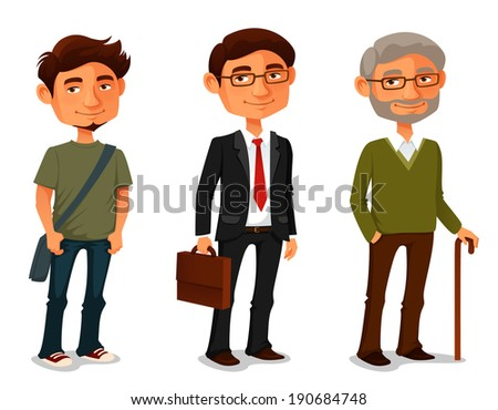cartoon characters showing age progress - a young boy, adult businessman and senior man - stock photo