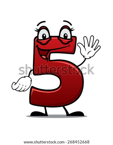 Cartoon cheeky waving number 5 with a happy smile suitable for kids birthday elements isolated on white - stock photo