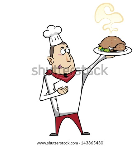 Cartoon chef with roast turkey illustration.