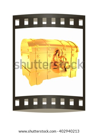 cartoon chest. The film strip. 3D illustration