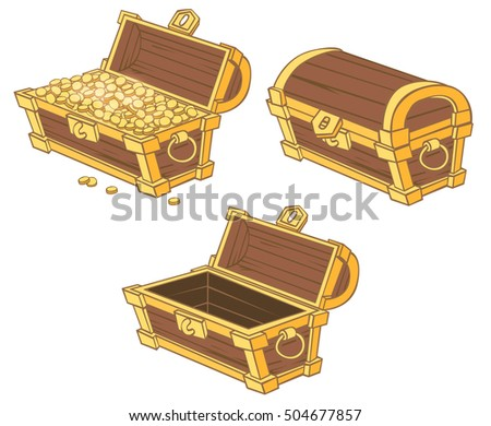 cartoon chests of gold coins from different angles isolated