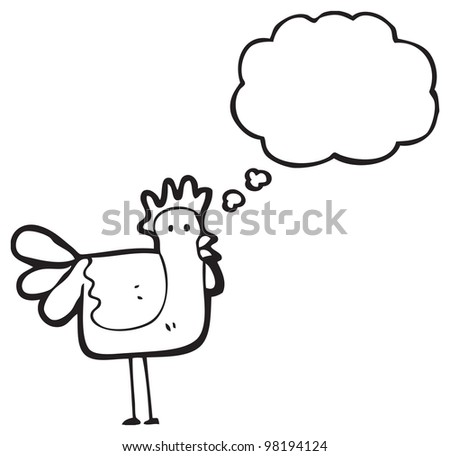 cartoon chicken with thought bubble