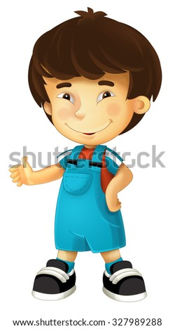Cartoon child - happy boy - illustration for the children - stock photo
