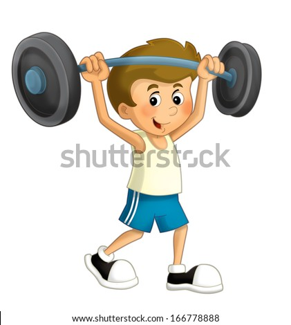 Cartoon child training - illustration for the children - stock photo