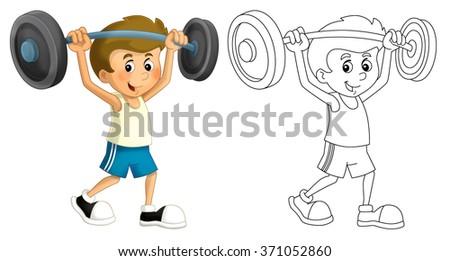 Cartoon child training - isolated - illustration for the children - stock photo