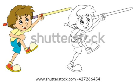 cartoon child training throwing spear isolated with coloring page illustration for the