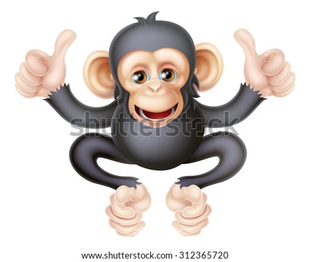 Cartoon chimp monkey like character mascot giving a double thumbs up - stock photo