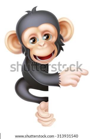 Cartoon chimp monkey like character mascot peeking around a sign and pointing at it - stock photo