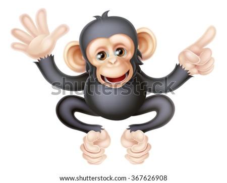 Cartoon chimp monkey like character mascot waving and pointing - stock photo