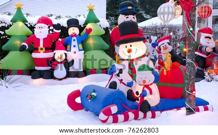 Cartoon Christmas characters celebrating the festive season. - stock photo
