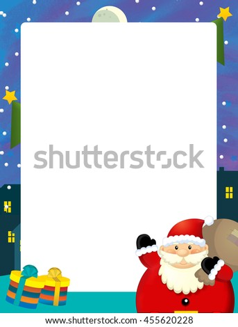 Cartoon christmas frame - space for text - santa claus and presents - illustration for children