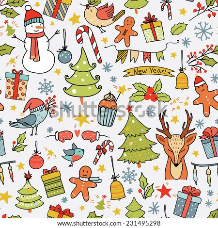 Cartoon christmas pattern with birds, trees, deer, gift boxes and other elements. Seamless pattern can be used for wallpapers, web page backgrounds.
