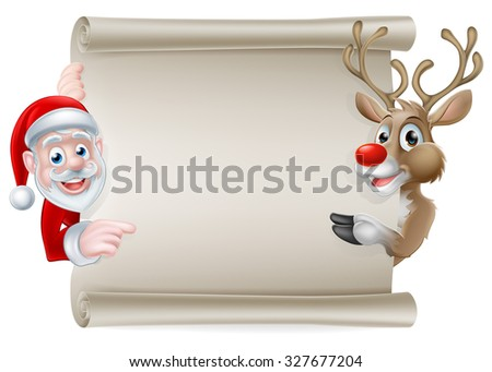 Cartoon Christmas scroll sign of Santa Claus and his reindeer pointing at a scroll banner - stock photo