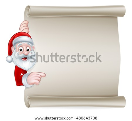 Cartoon Christmas sign with Santa Claus pointing at a scroll banner