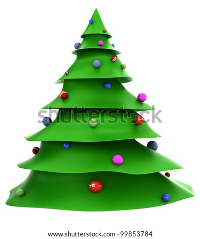 Cartoon christmas tree with decorations - stock photo