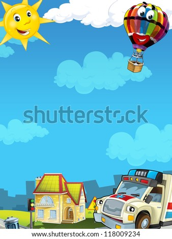 Cartoon city look with ambulance - illustration for the children