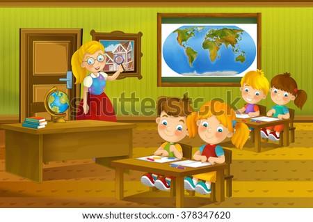 Cartoon classroom - illustration for the children - stock photo