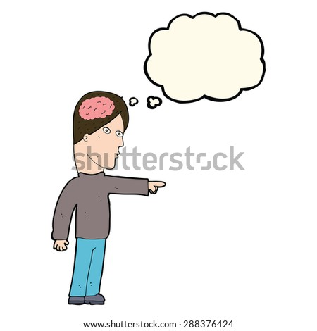 cartoon clever man pointing with thought bubble - stock photo