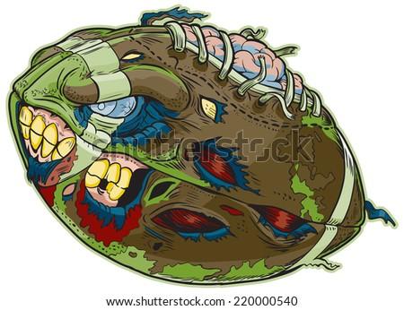 Cartoon clip art illustration of a Zombie Football!  - stock photo