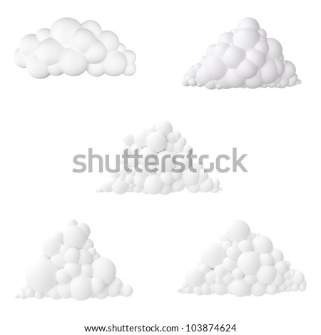cartoon clouds collection  isolated on white background icon for design - stock photo