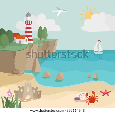 cartoon coast landscape, seascape with sand, waves, starfish,  crab, lighthouse and sailboat. raster version - stock photo