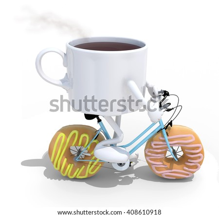 cartoon coffee cup riding bicycle with donuts instead wheels, 3d illustration - stock photo