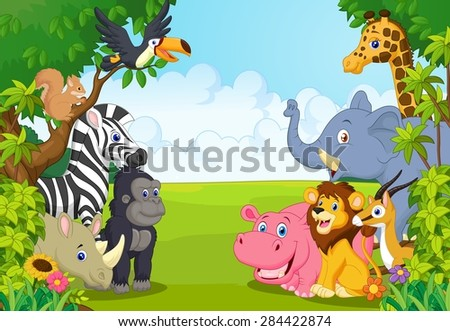 Cartoon collection animal in the jungle - stock photo