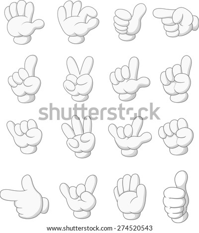 Cartoon collection of hand sign