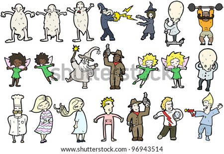 cartoon collection of people (raster version) - stock photo