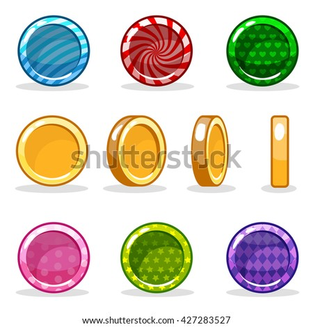 Cartoon colorful glossy Coin set, game turn-based animation/ JPG copy