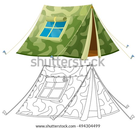 Cartoon Colorful Tent Coloring Page Isolated Stock Illustration ...