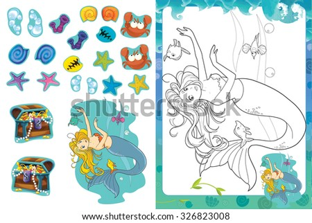 Cartoon coloring page with stickers - mermaid - illustration for the children - stock photo