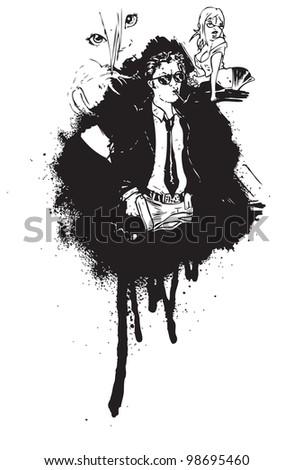 cartoon comic book characters graffiti style - stock photo