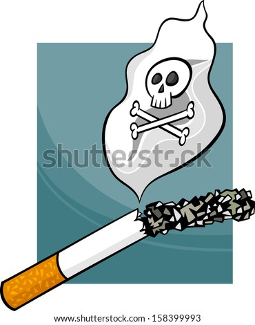 Cartoon Concept Illustration about Harmfulness of Smoking Cigarettes