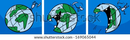 Cartoon Concept Illustration of Ticklish Earth Planet Laughing Comic Story - stock photo