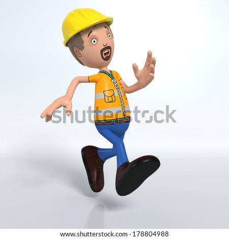 Cartoon construction worker with hard hat running looking concerned - stock photo