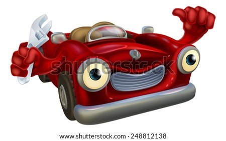 Cartoon convertible red classic sports car auto repair garage mechanic character holding a wrench and giving a thumbs up gesture - stock photo