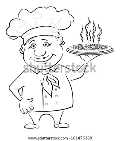 Cartoon cook - chef holds a delicious hot pizza, black contour on white background - stock photo