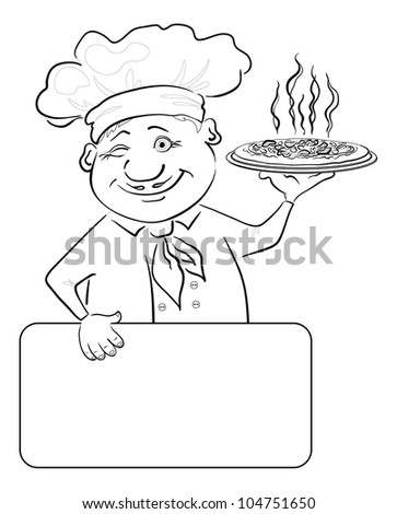 Cartoon cook - chef with delicious hot pizza and poster, free for your text, black contour on white background - stock photo