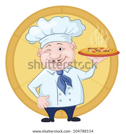 Cartoon cook - chef with delicious hot pizza on a circular background - stock photo