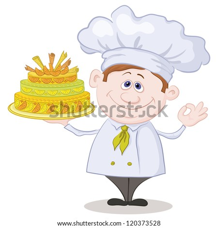 Cartoon cook - chef with sweet holiday cake, isolated on white background. - stock photo