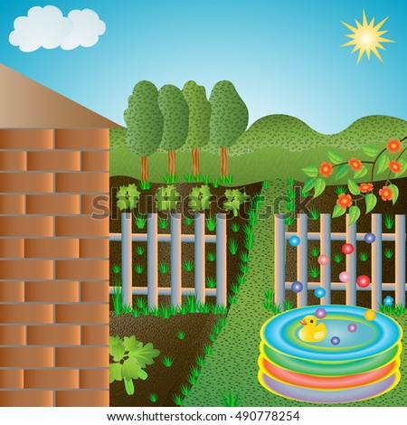 Cartoon country landscape with children toys. Cartoon rural landscape with children's toys