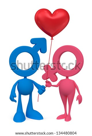 Cartoon Couple. Mars and Venus cartoon symbols standing together and holding heartshaped balloon. 3D rendered image, isolated on white background - stock photo