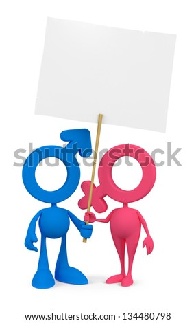 Cartoon Couple. Mars and Venus cartoon symbols standing together and holding white paper blank placard. 3D rendered image, isolated on white background - stock photo